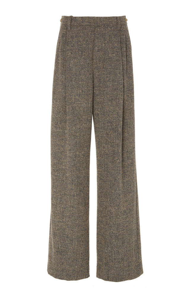 Vince Textured Wool-Knit Wide-Leg Pants in grey