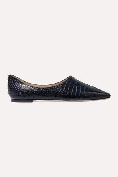 Jimmy Choo - Joselyn Croc-effect Leather Ballet Flats - Navy