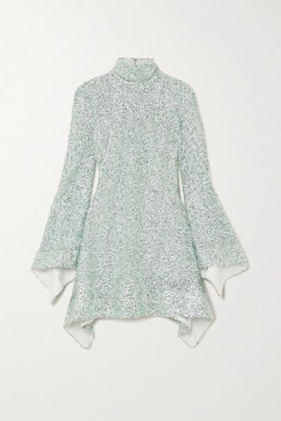 Halpern - Sequined Lace Mini Dress - Mint