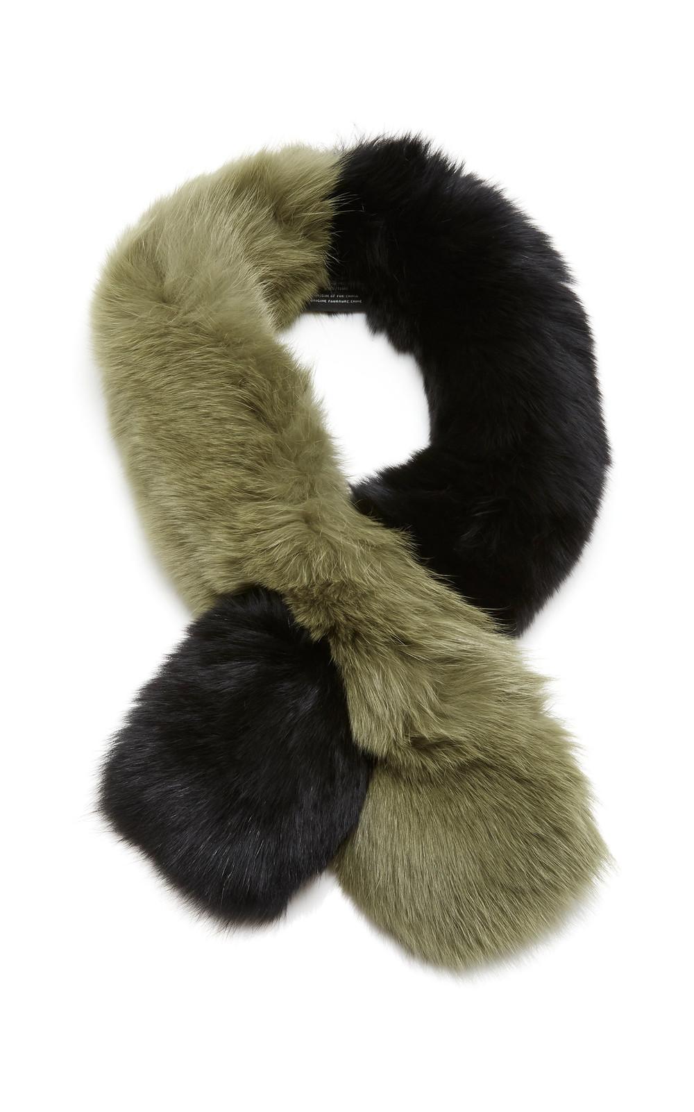 Charlotte Simone Polly Pop Two-Tone Fur Scarf in black