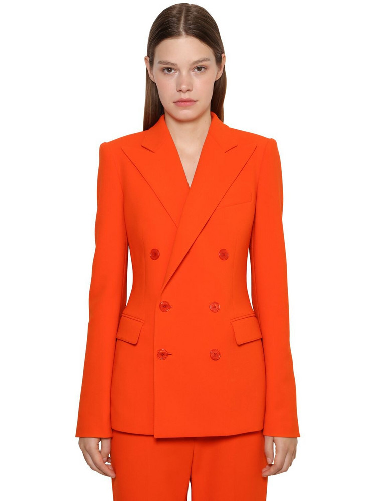 RALPH LAUREN COLLECTION Df Wool Blend Crepe Jacket in orange