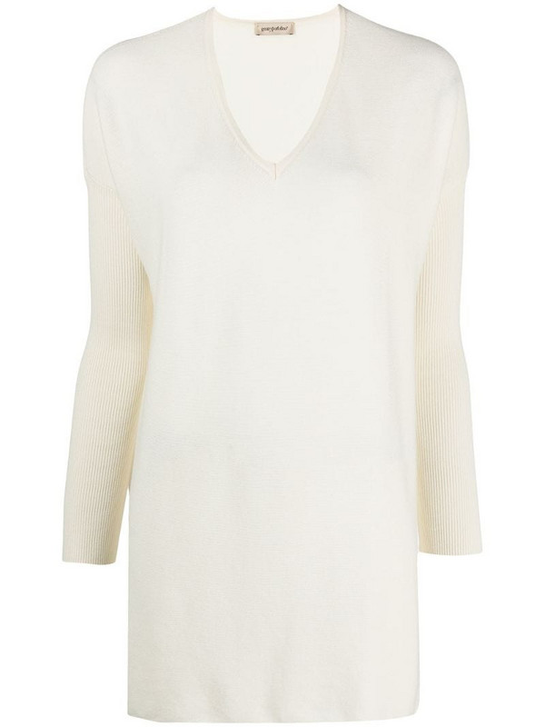 Gentry Portofino fine knit loose top in white