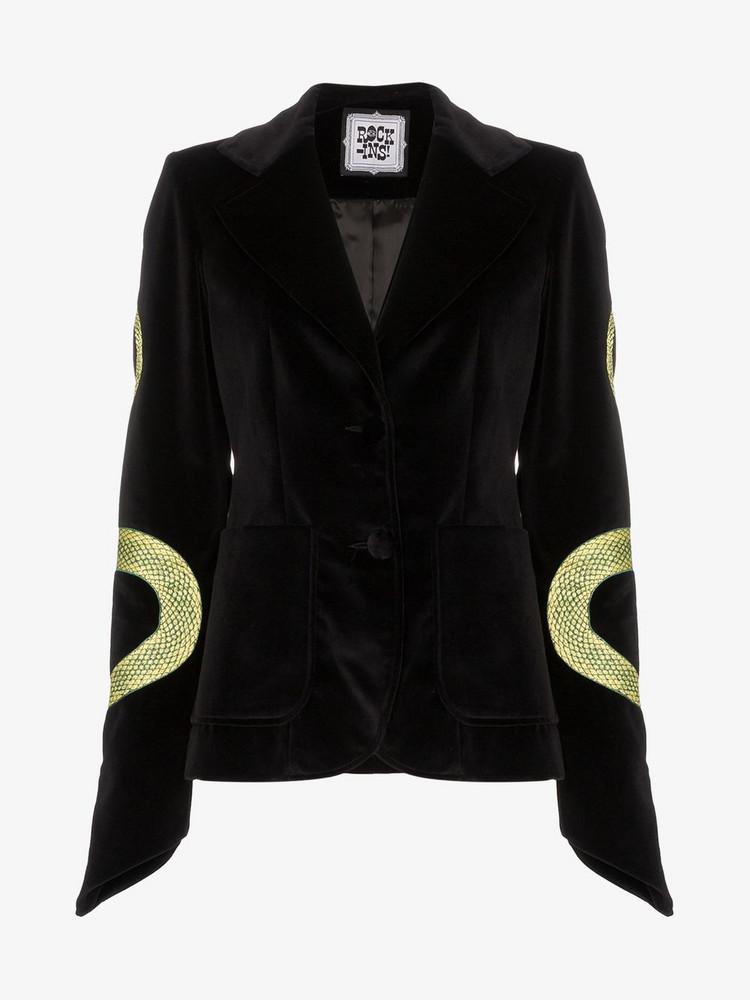Rockins Snake Embroidery Velvet Blazer Jacket in black