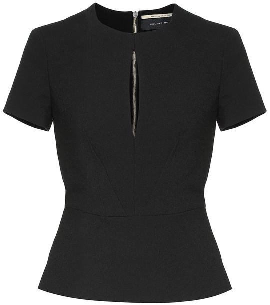 Roland Mouret Redgate crêpe blouse in black
