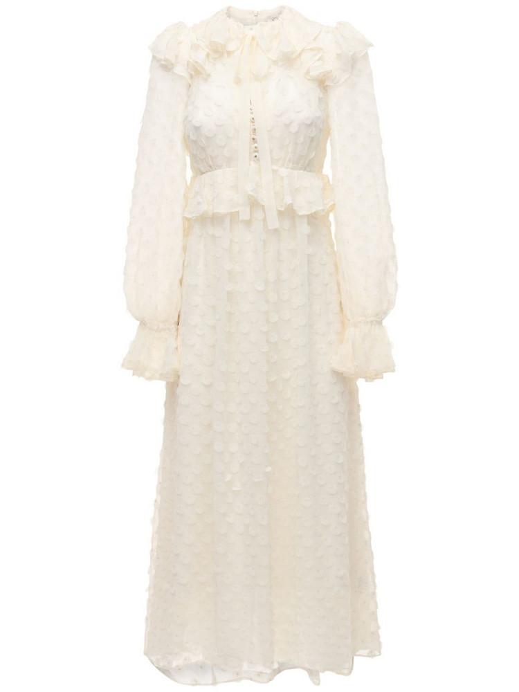 ZIMMERMANN Chiffon Jacquard Midi Dress in white