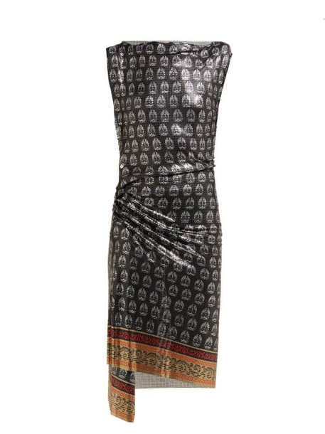 Paco Rabanne - Yucca Print Ruched Chainmail Dress - Womens - Black Multi