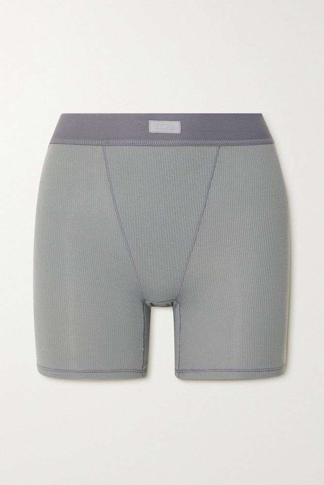 SKIMS - Cotton Collection Ribbed Cotton-blend Jersey Boxer Shorts - Pacific in blue