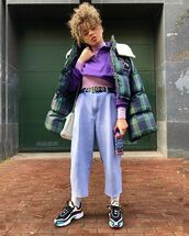 jeans,wide leg jeans,sneakers,socks,white bag,plaid,puffer jacket,turtleneck,sweatshirt,black belt