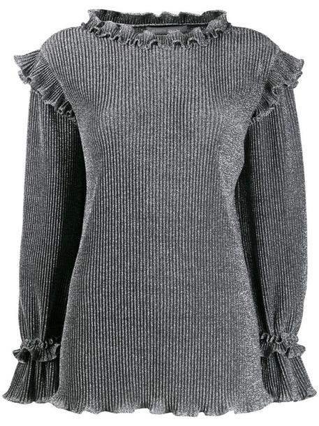 Alberta Ferretti metallic knit ruffled sweater in grey
