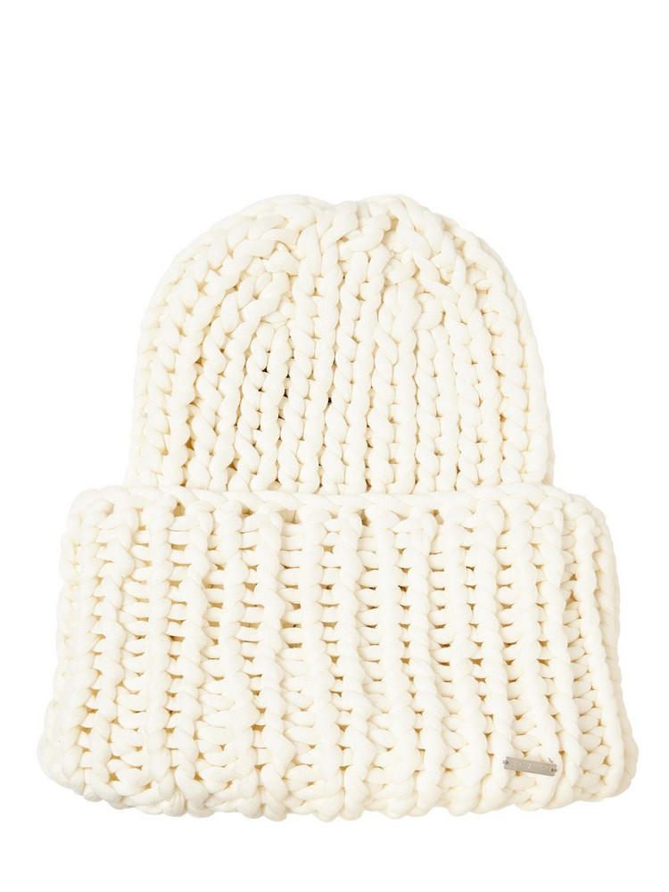 DSQUARED2 Wool Blend Knit Beanie Hat in white