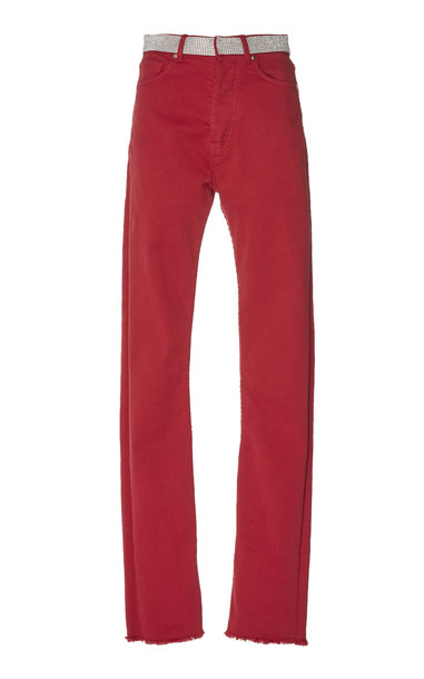 Alexandre Vauthier Mid-Rise Colored Skinny Jeans Size: 28 in red