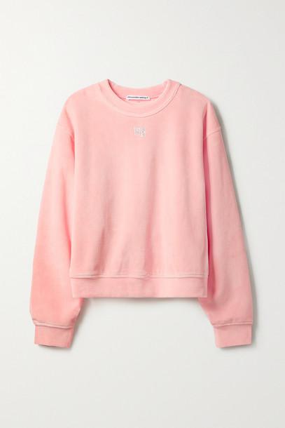 ALEXANDERWANG.T - Crystal-embellished Cotton-blend Velour Sweatshirt - Pink