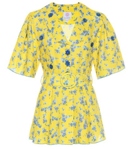 Gül Hürgel Floral linen top in yellow