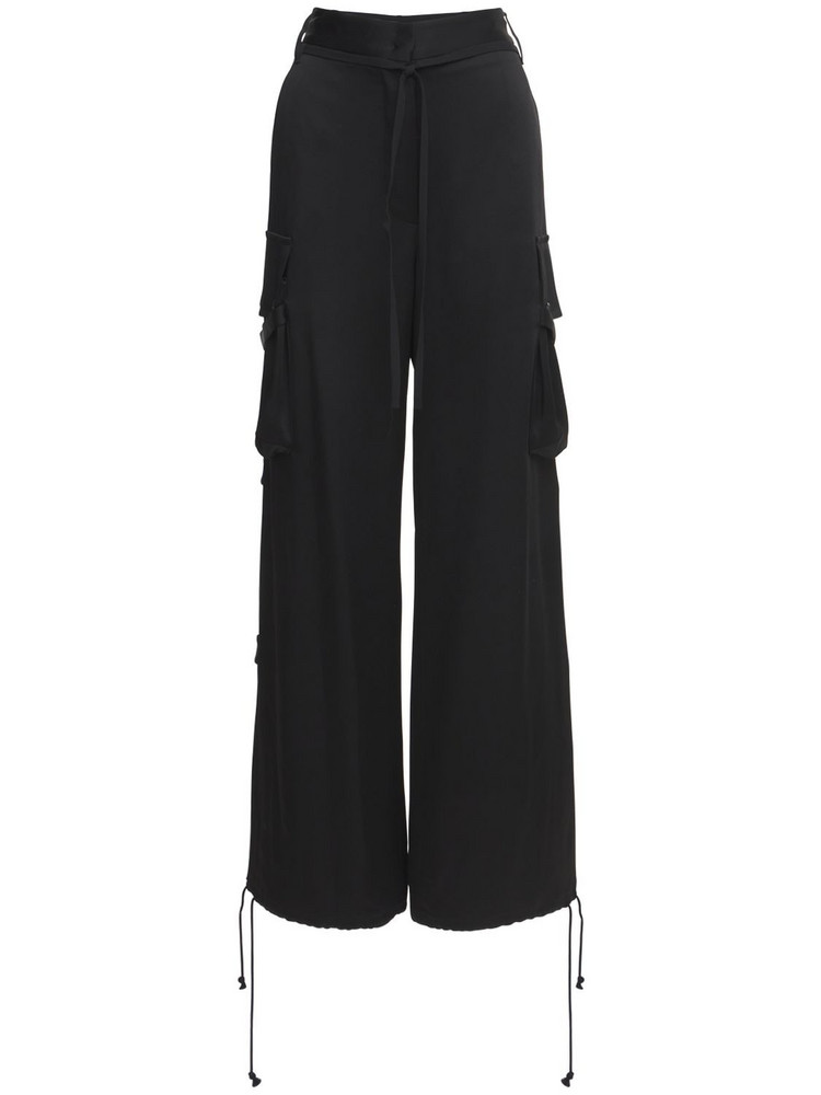 ANN DEMEULEMEESTER Viscose Satin Kuiper Pants in black