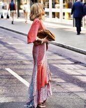 dress,maxi dress,leopard print,asymmetrical dress,puffed sleeves,black sandals,bag