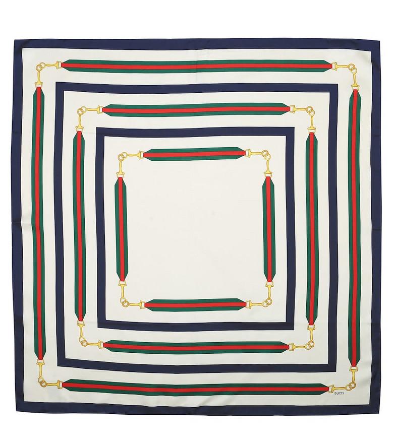Gucci Horsebit silk-twill scarf in white