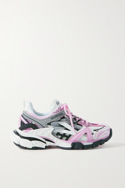 BALENCIAGA - Track 2 Logo-detailed Metallic Mesh And Rubber Sneakers - Pink