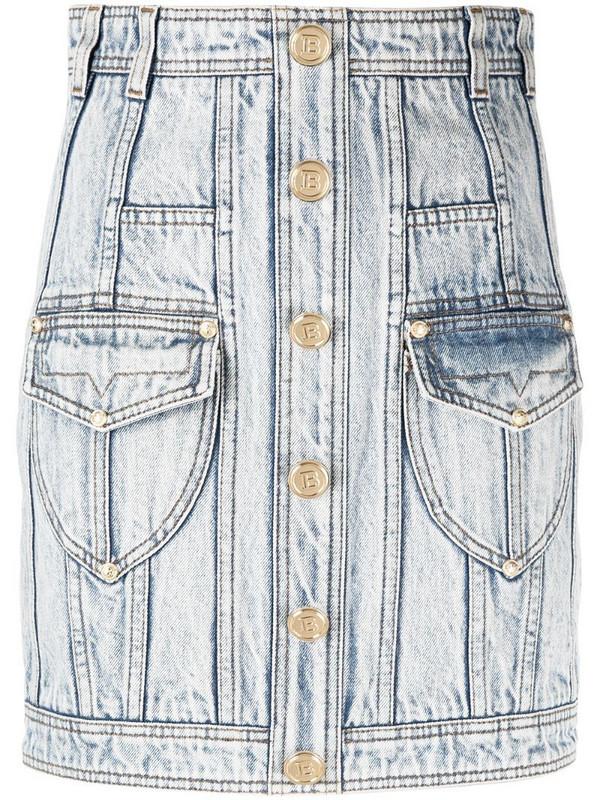 Balmain high-waisted denim skirt in blue