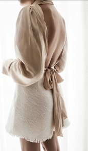 blouse,cream,silk,elegant,chic,backless,classy,classic,nude,trendy,girly,women,beige,top,shirt,plain top,simple et chic,simple style,luxury,cheap clothes