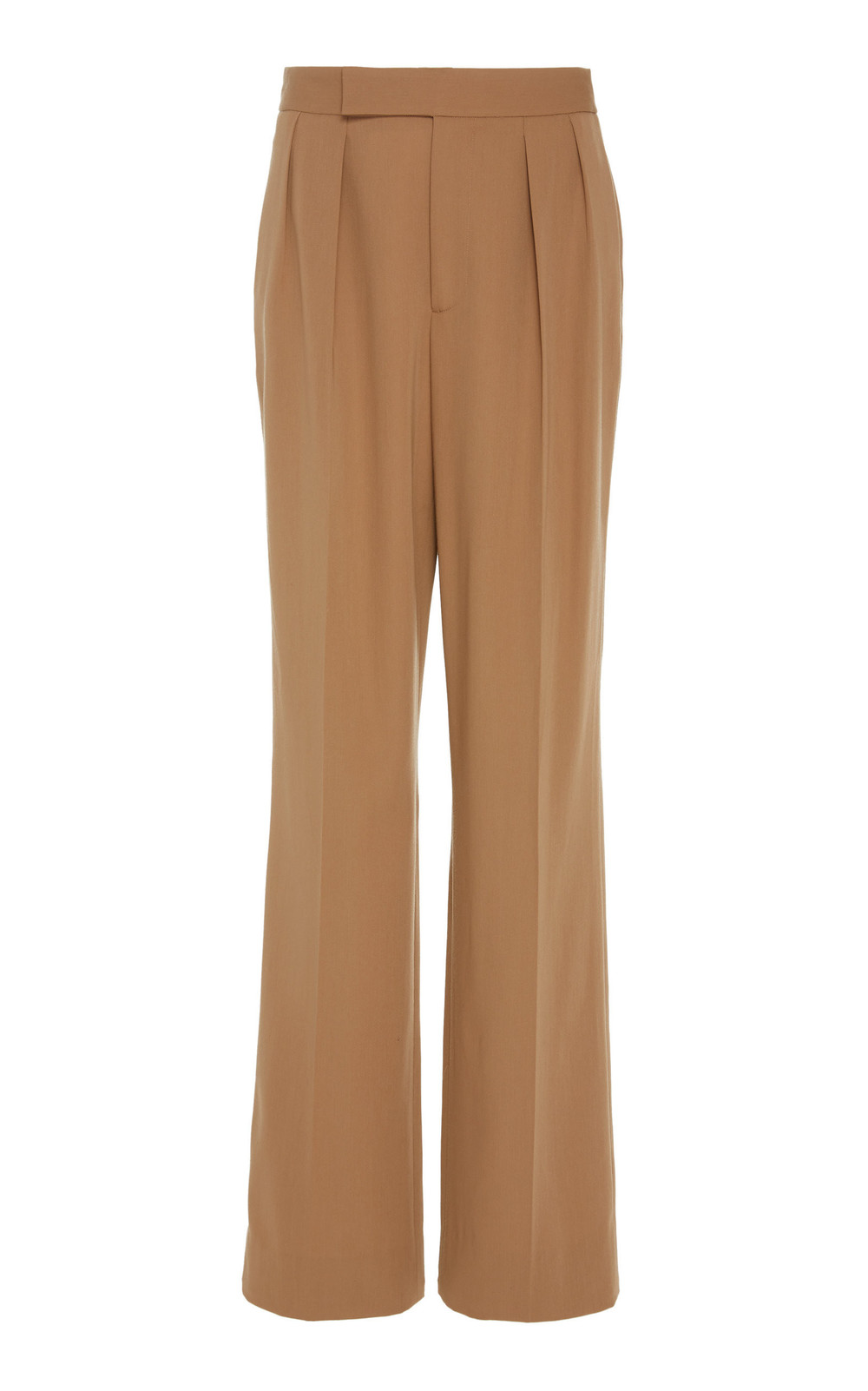Ralph Lauren Bingham Pleated Wool-Crepe Wide-Leg Pants in brown