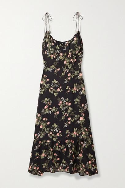 Reformation - Embry Ruffled Floral-print Georgette Midi Dress - Black