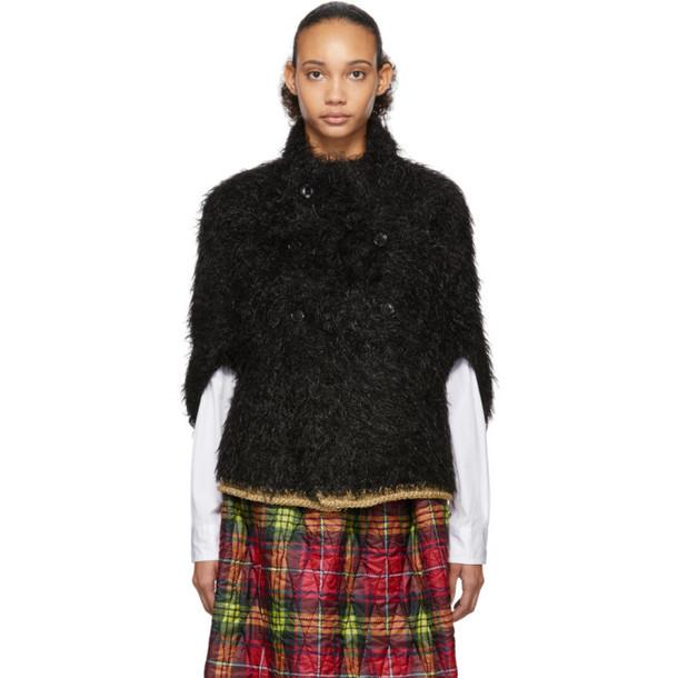 Tricot Comme des Garcons Black Faux-Fur Hand-Knit Cardigan