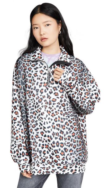 Marques Almeida Zip Up Turtleneck Sweatshirt in leopard