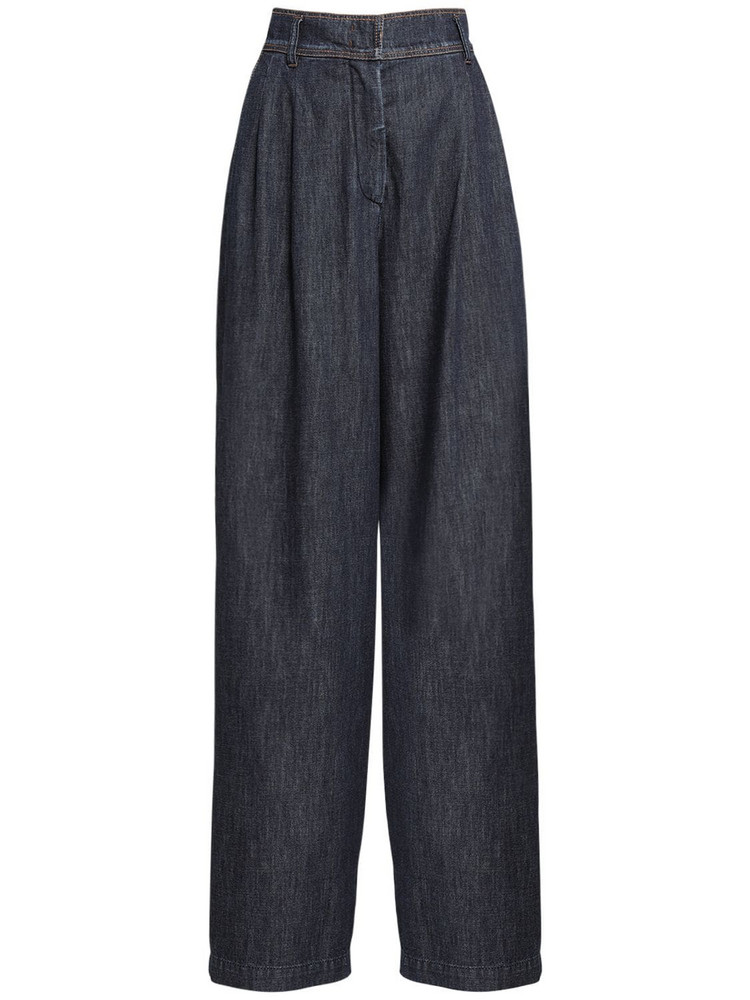 WEEKEND MAX MARA High Waist Cotton Denim Wide Leg Pants in blue