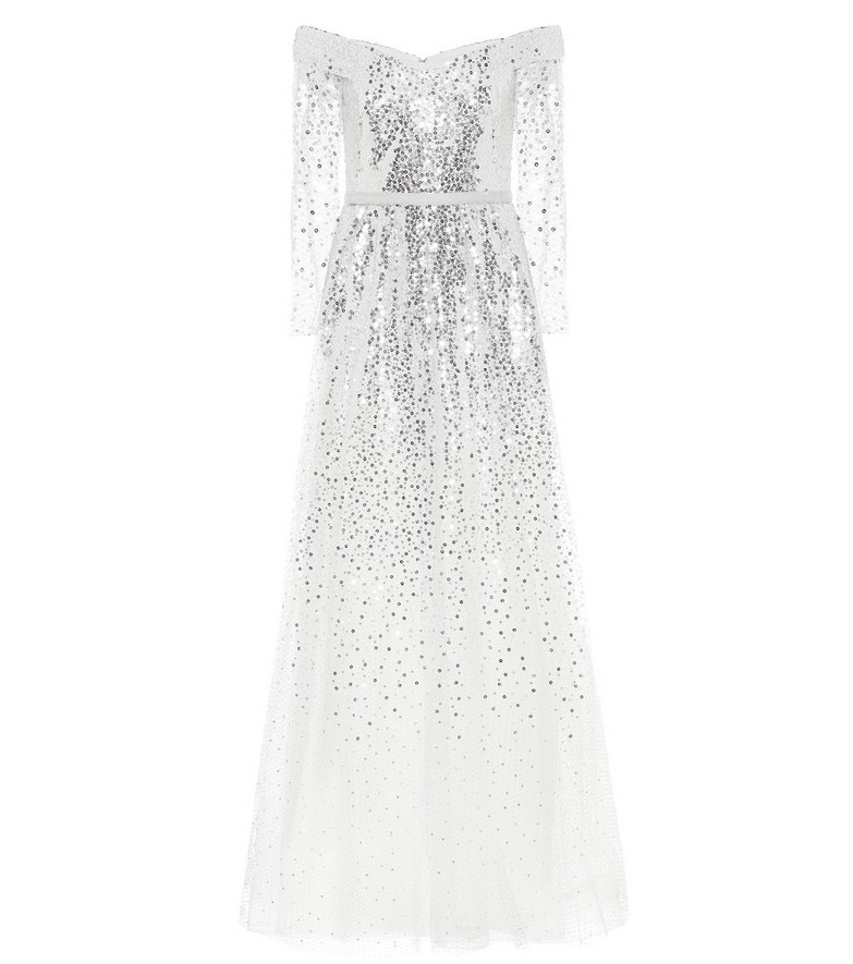 Marchesa Notte Off-the-shoulder sequined gown in white