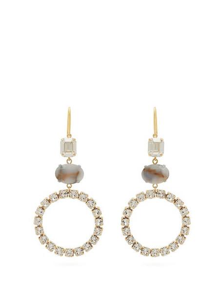 Isabel Marant - Strass Embellished Hoop Drop Earrings - Womens - White