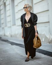 dress,maxi dress,asymmetrical dress,black sandals,black blazer,bag