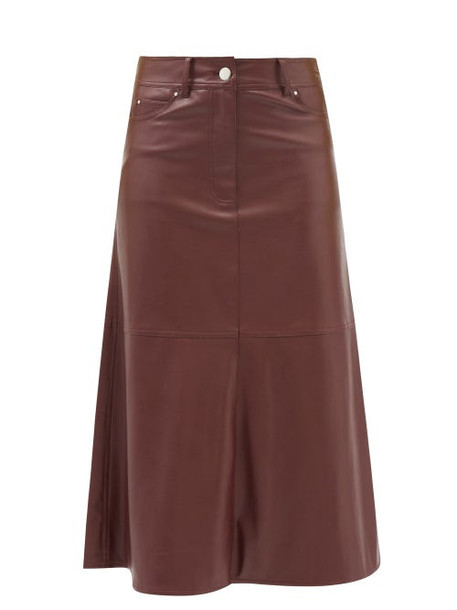 Stand Studio - Riley Faux-leather A-line Midi Skirt - Womens - Burgundy