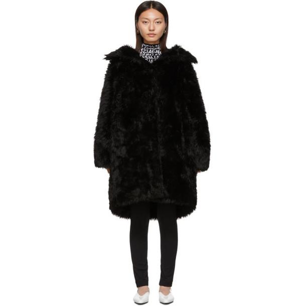 Balenciaga Black Faux-Fur Swing Coat
