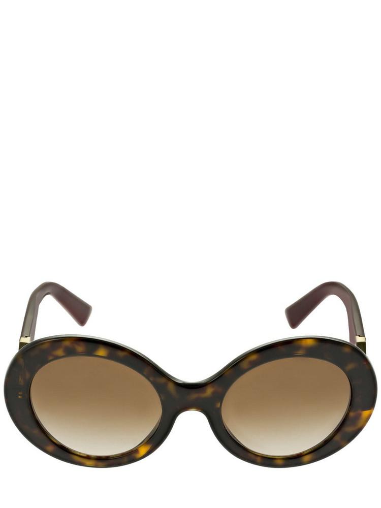 VALENTINO GARAVANI V Logo Round Acetate Sunglasses in brown