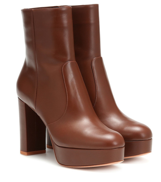 Gianvito Rossi Leather plateau ankle boots in brown