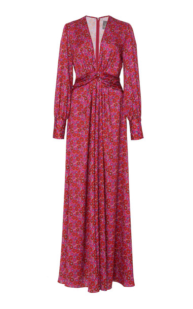 Lela Rose Belted Floral Satin Gown Size: 8 in pink