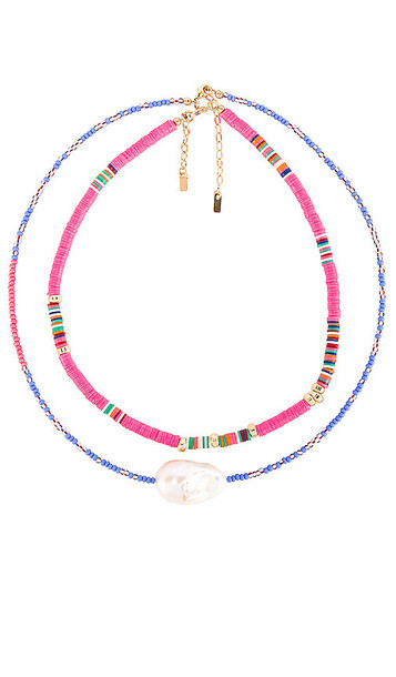 joolz by Martha Calvo Groove Necklace Set in Pink