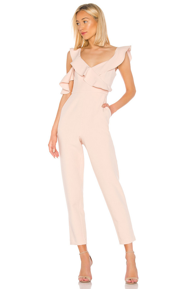 BCBGMAXAZRIA Ruffle Top Jumpsuit in pink
