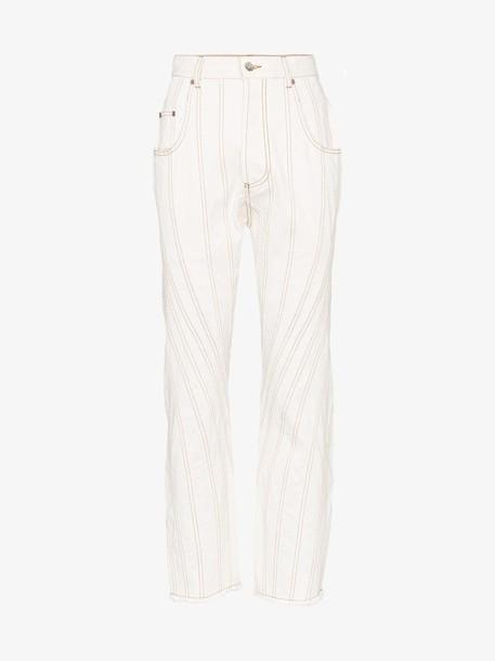 Mugler High-waisted stitch detail boyfriend jeans in white