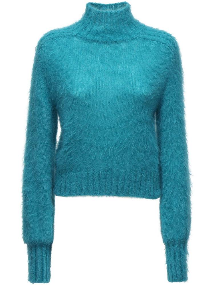 ALBERTA FERRETTI Knit Mohair Blend Turtleneck Sweater in turquoise