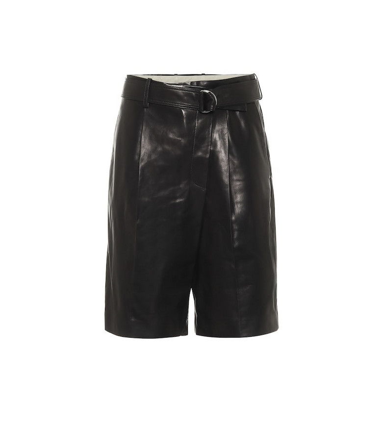 Helmut Lang High-rise leather Bermuda shorts in black