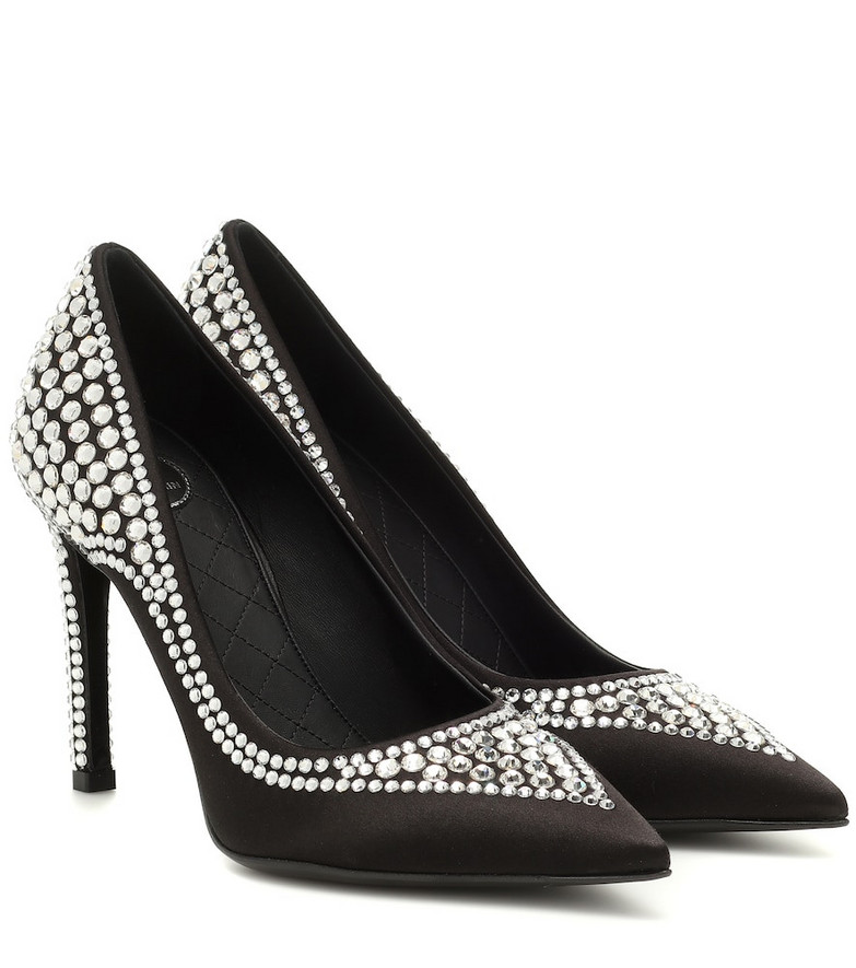 Balmain Crystal-embellished satin pumps in black