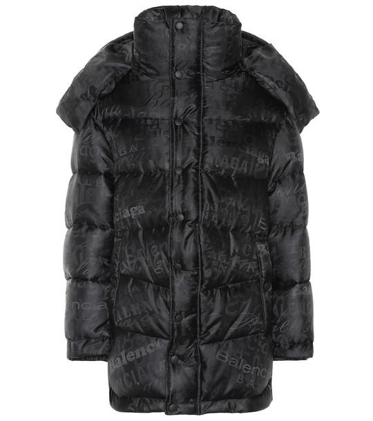 Balenciaga Logo puffer coat in black