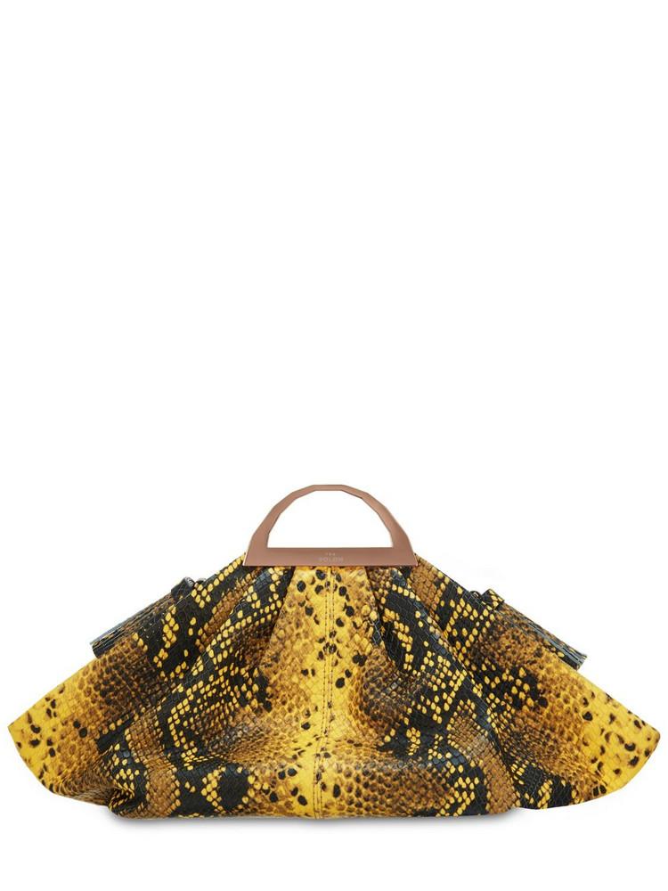 THE VOLON Mini Gabi Snake Printed Leather Clutch in yellow