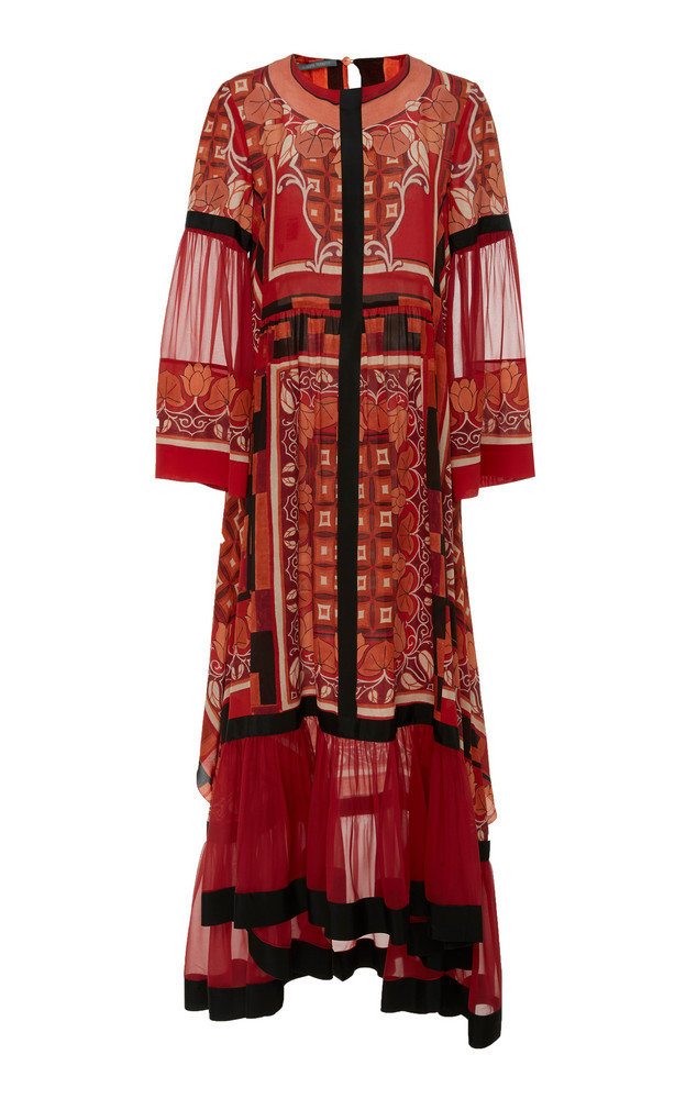 Alberta Ferretti Printed Silk Dress in red