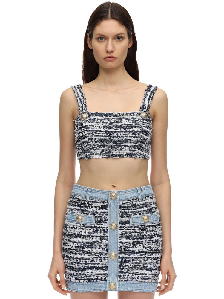 BALMAIN Cotton Blend Tweed Bra Top in blue / white
