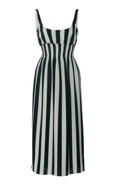 Emilia Wickstead Giovanna Striped Stretch-Crepe Midi Dress Size: 6 in green