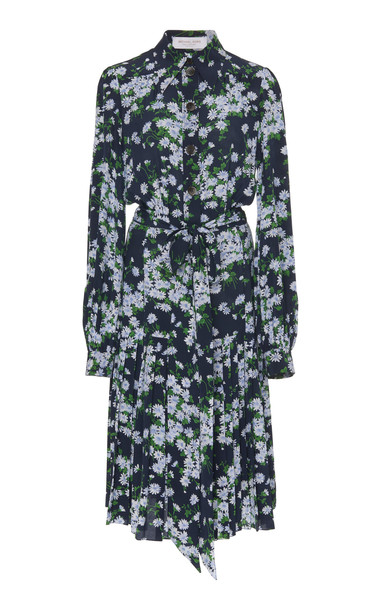 Michael Kors Collection Floral Crepe De Chine Pleated Shirt Dress Siz in blue