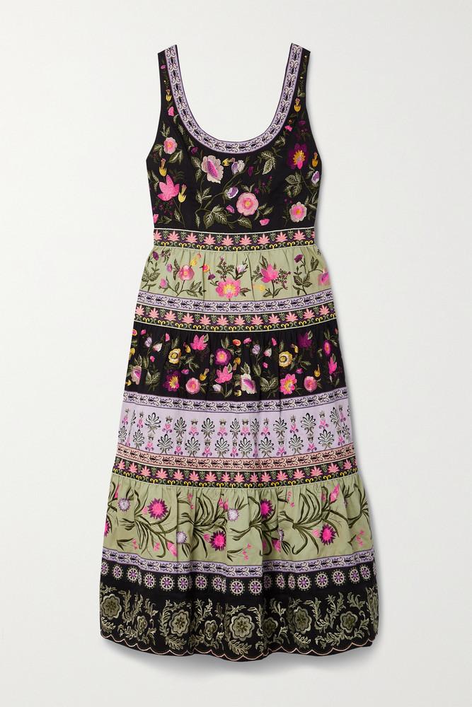 Alice + Olivia Alice + Olivia - Arya Tiered Embroidered Cotton-blend Midi Dress - Black