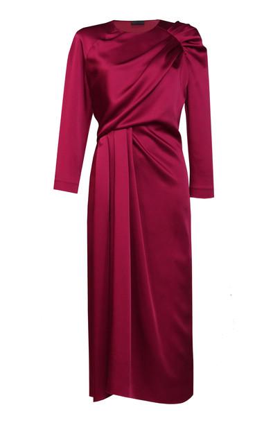 Lake Studio Draped Satin Midi Dress in burgundy